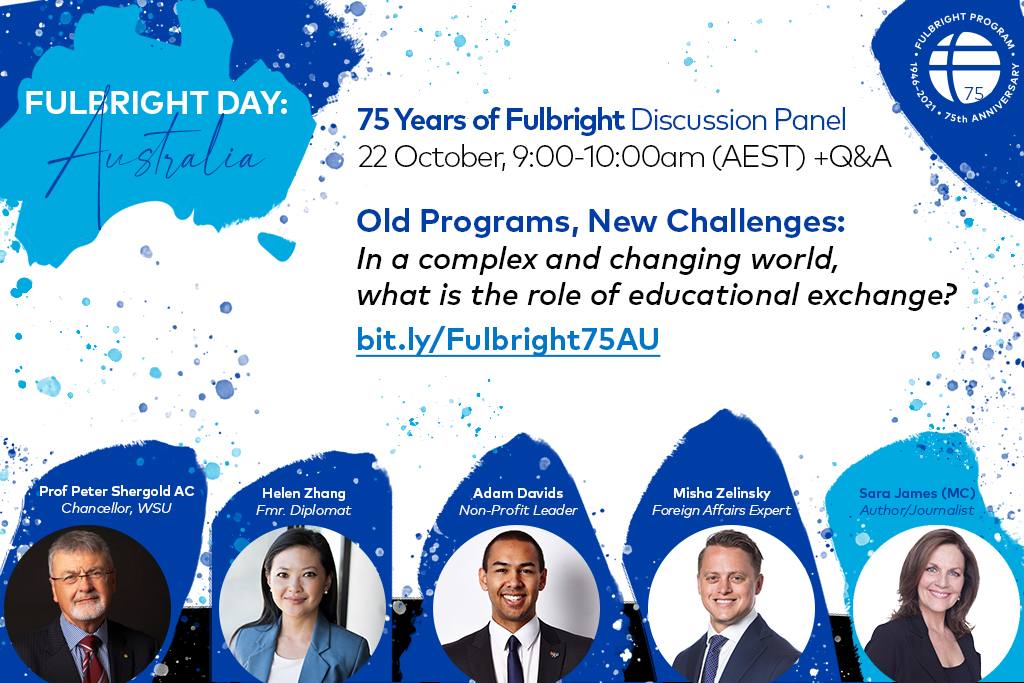 Promotional graphic for Australia's Fulbright Day on October 22, with blue splotchy design and headshots of the panelists at the bottom
